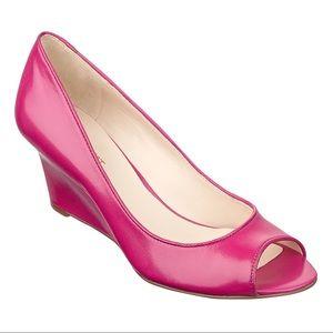 NINE WEST Leather Peep Toe Wedges Hot Pink, Size 6